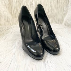Burberry Black Patent leather Stacked Heel Pumps 7